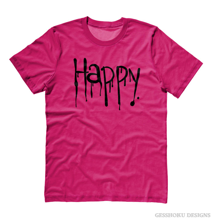 """Happy"" Dripping Text T-shirt - Hot Pink"