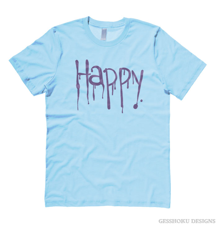 """Happy"" Dripping Text T-shirt - Light Blue"