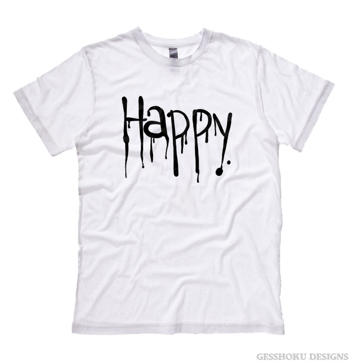 """Happy"" Dripping Text T-shirt - White"