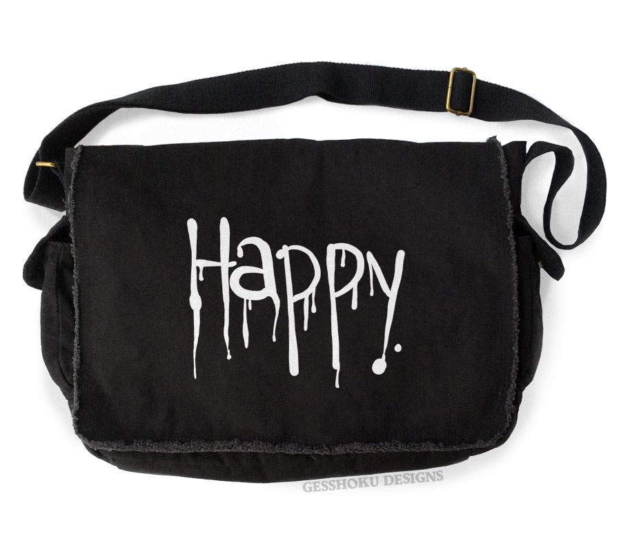 """Happy"" Dripping Text Messenger Bag - Black"