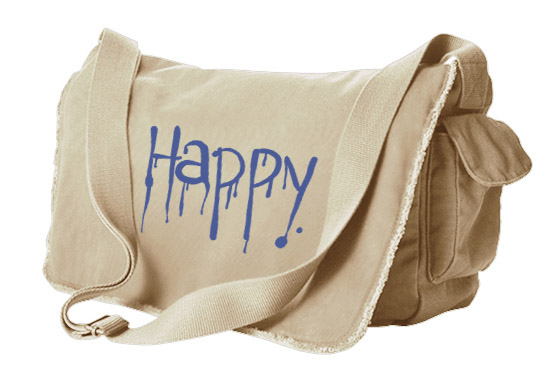 """Happy"" Dripping Text Messenger Bag - Natural"