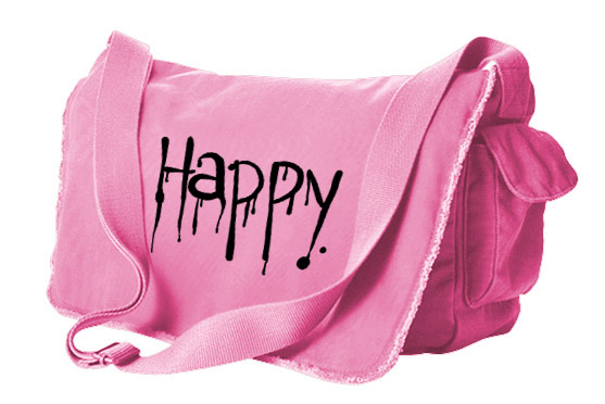 """Happy"" Dripping Text Messenger Bag - Pink"