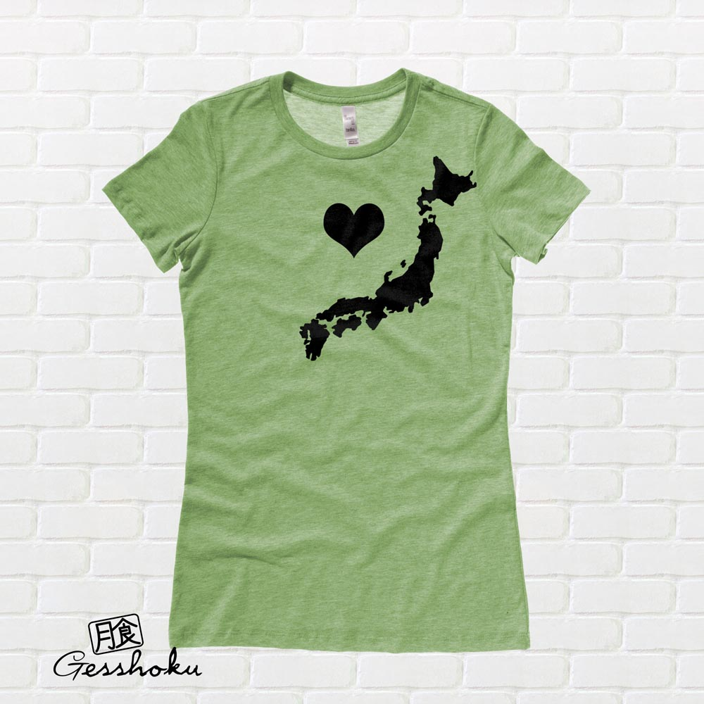 My Heart in Japan Ladies T-shirt - Heather Green