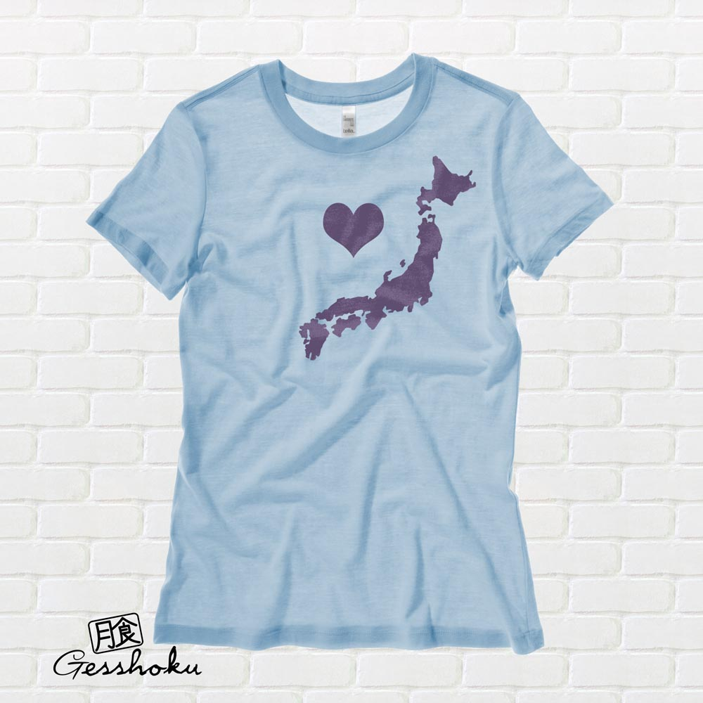 My Heart in Japan Ladies T-shirt - Light Blue