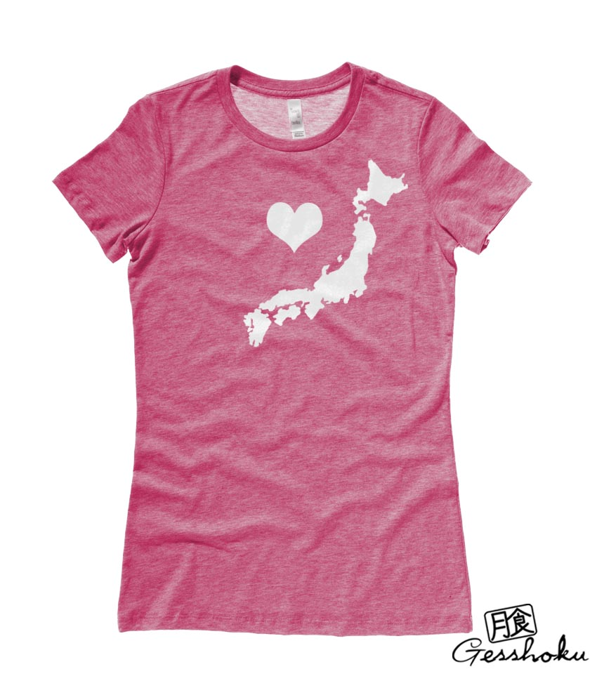 My Heart in Japan Ladies T-shirt - Heather Raspberry