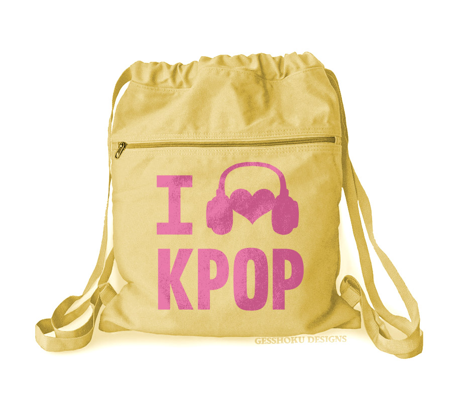 I Listen to KPOP Cinch Backpack - Yellow