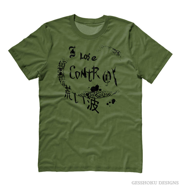 I Lose Control Gothic T-shirt - Olive Green