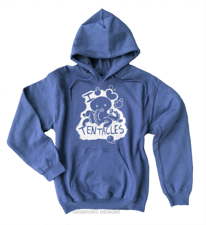 I Love Tentacles Pullover Hoodie - Heather Blue