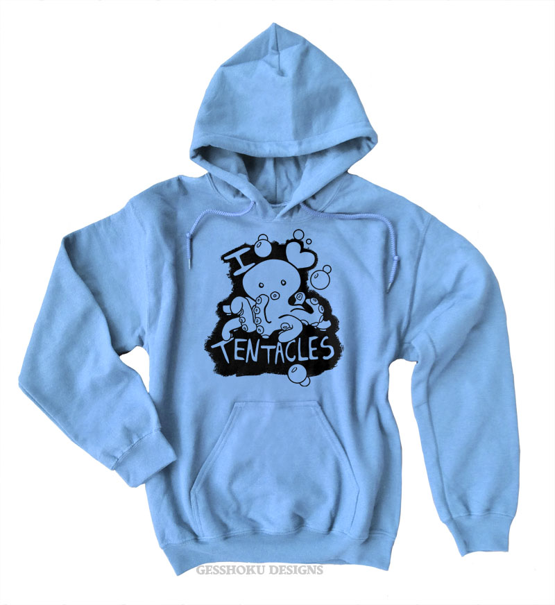 I Love Tentacles Pullover Hoodie - Light Blue