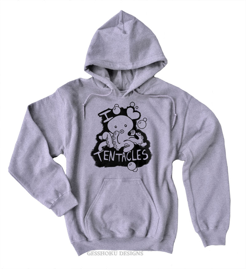I Love Tentacles Pullover Hoodie - Light Grey