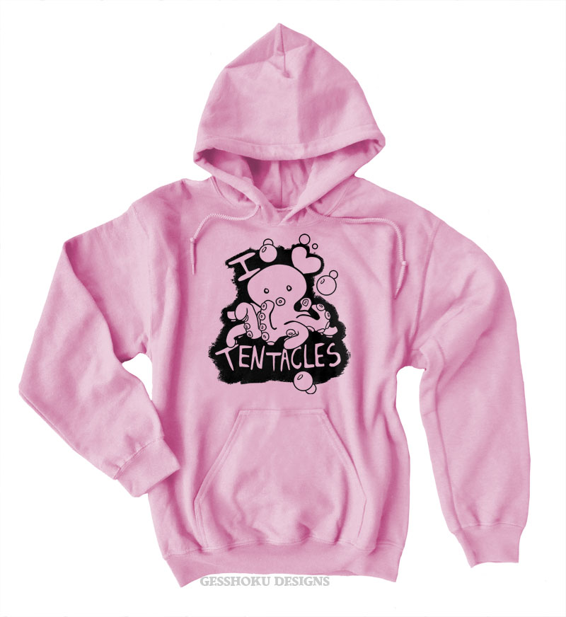 I Love Tentacles Pullover Hoodie - Light Pink