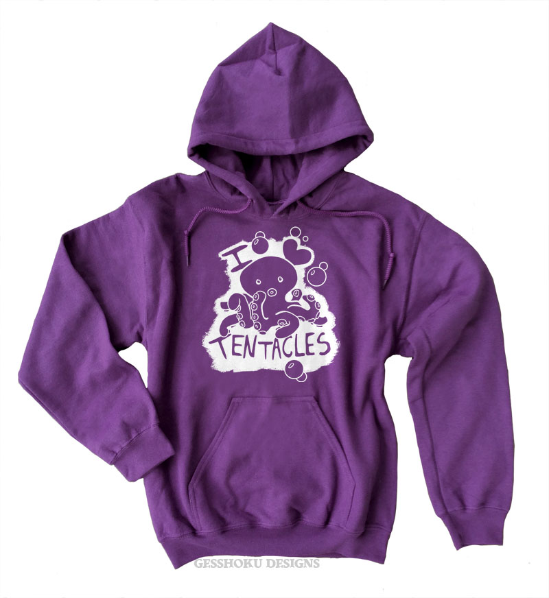 I Love Tentacles Pullover Hoodie - Purple