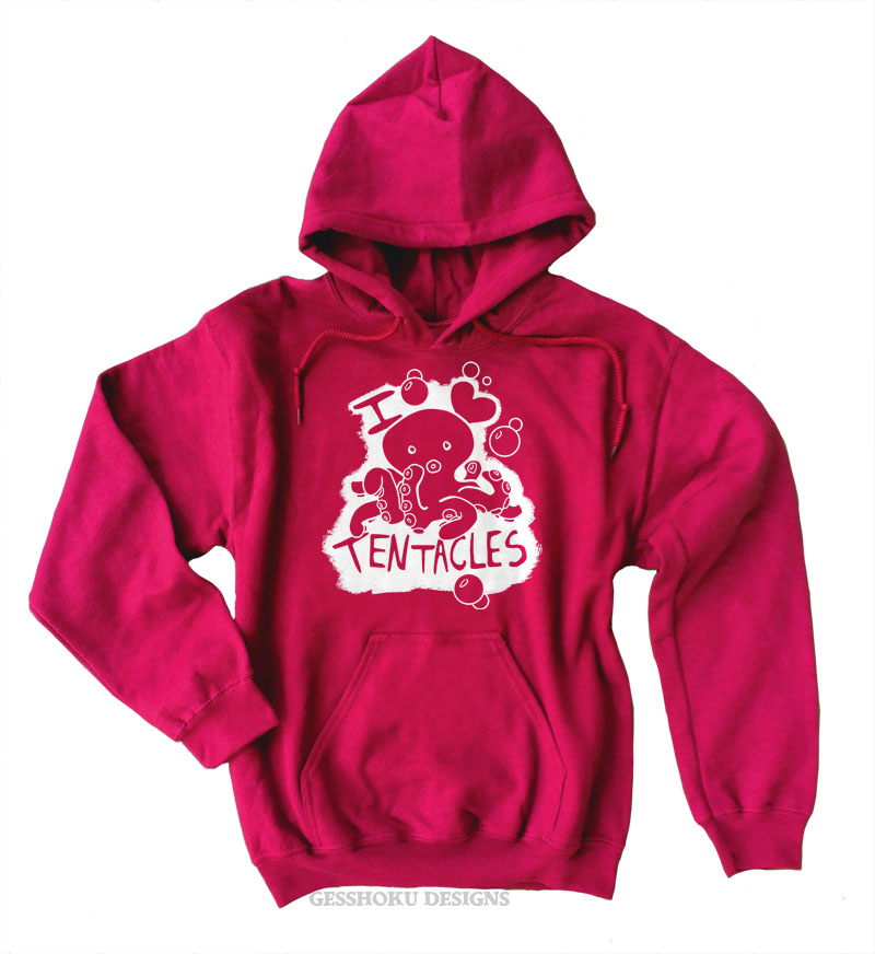 I Love Tentacles Pullover Hoodie - Red