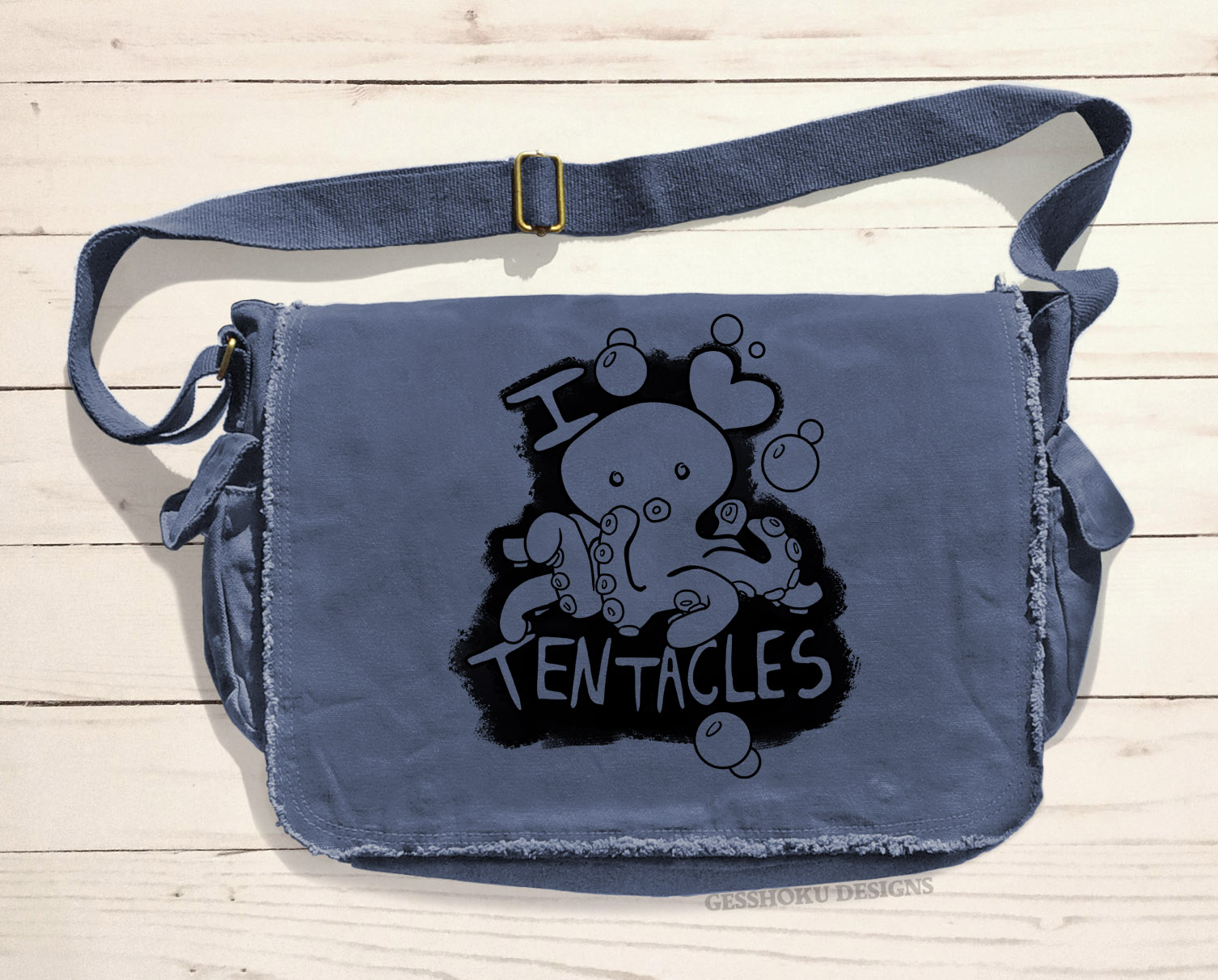 I Love Tentacles Messenger Bag - Denim Blue