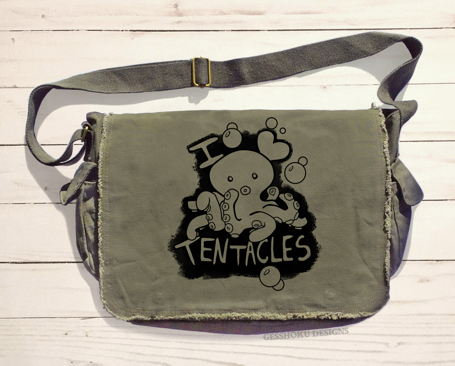 I Love Tentacles Messenger Bag - Khaki Green