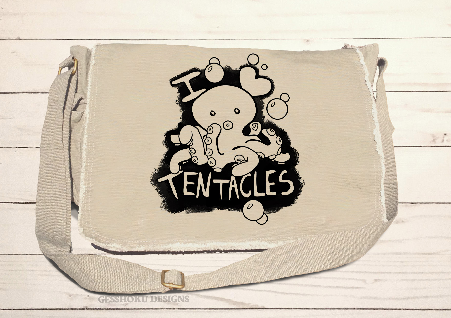 I Love Tentacles Messenger Bag - Natural