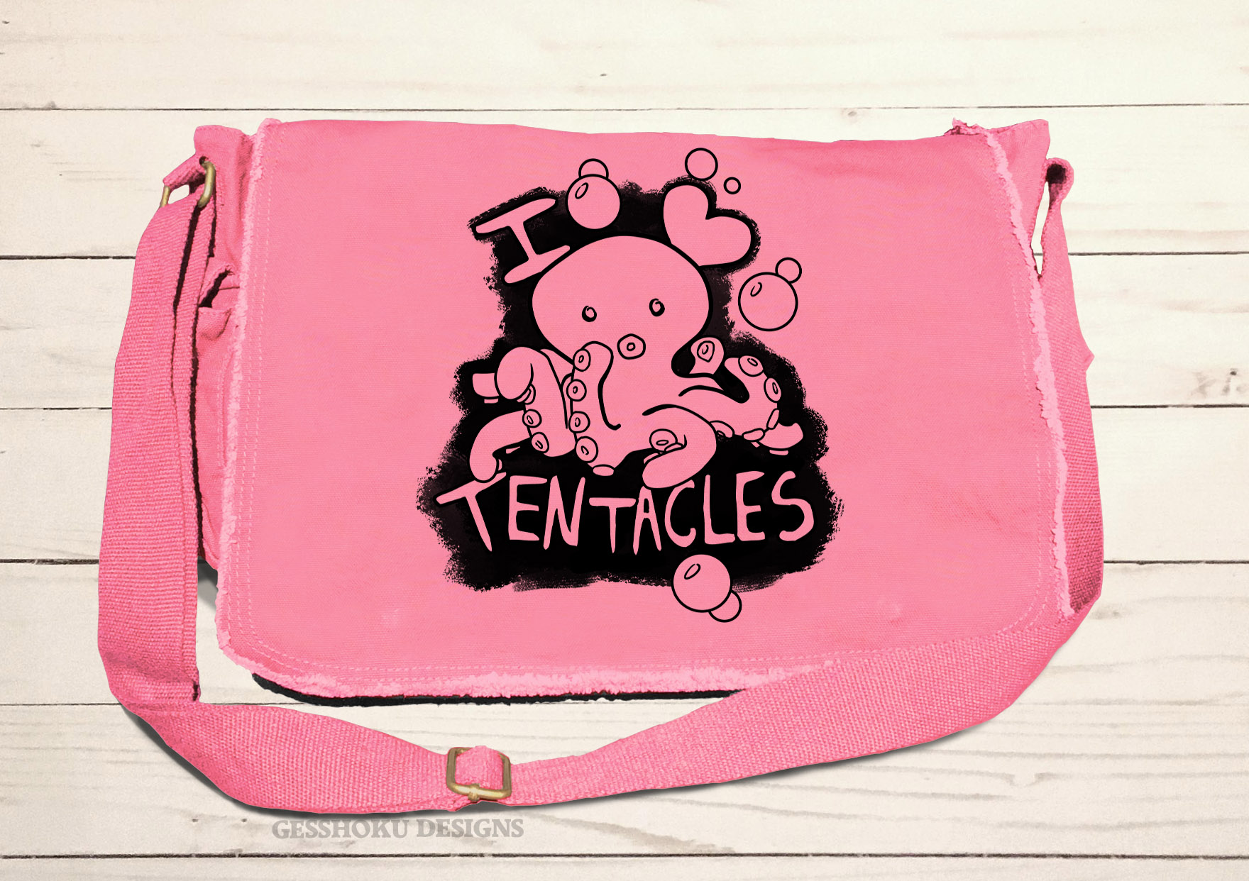 I Love Tentacles Messenger Bag - Pink