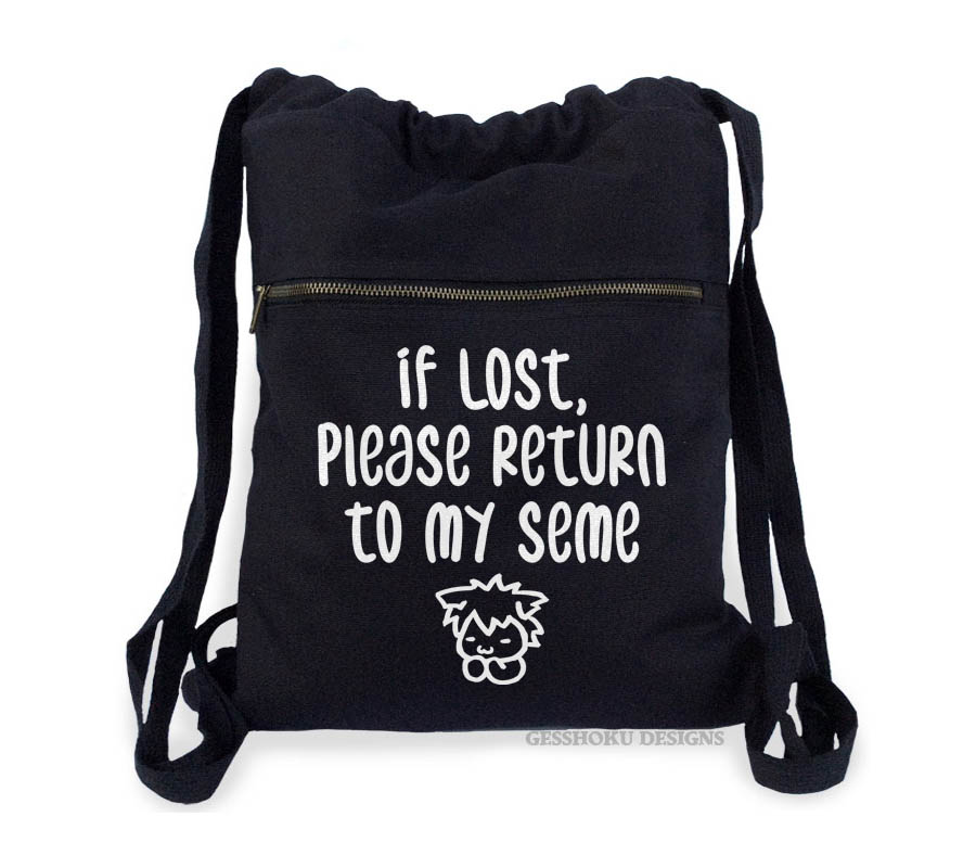 If Lost, Please Return to My Seme Cinch Backpack - Black