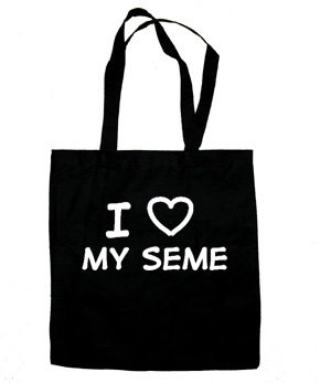 I Love My Seme Tote Bag (white/black)