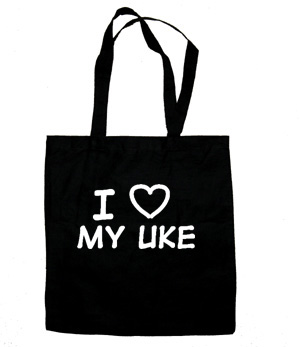 I Love My Uke Tote Bag (white/black)