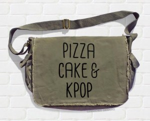 Pizza Cake & KPOP Messenger Bag