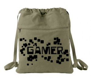 Gamer Floating Pixels Cinch Backpack