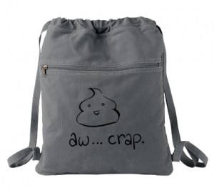 Aw... Crap Kawaii Poop Cinch Backpack (black/grey