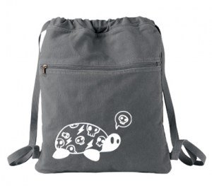 Harajuku Kame Turtle Cinch Backpack (white/grey)