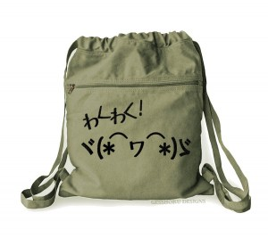 Waku Waku Kaomoji Cinch Backpack