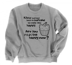 Kitty Turned into a Cupcake Crewneck Sweatshirt