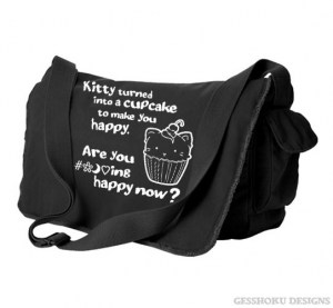 Kitty Turned into a Cupcake Messenger Bag