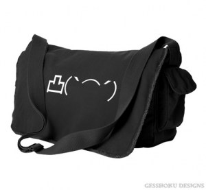Middle Finger Emoticon Messenger Bag