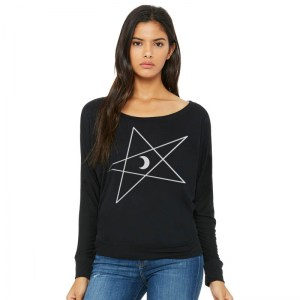5-Pointed Moon Star Flowy Off-Shoulder Long Sleeve Shirt