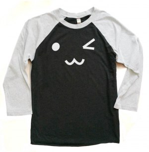Kawaii Face Raglan T-shirt 3/4 Sleeve