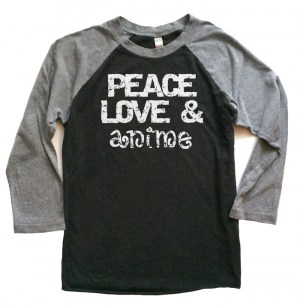 Peace Love & Anime Raglan T-shirt