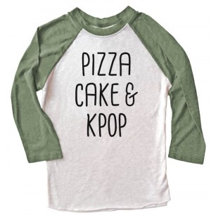 Pizza Cake & Kpop Raglan T-shirt 3/4 Sleeve