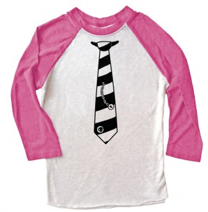 Fabulously Punk Striped Tie Raglan T-shirt