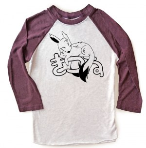 Sleepy Kitsune Raglan T-shirt 3/4 Sleeve