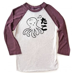 I Love TAKO - Kawaii Octopus Raglan T-shirt 3/4 Sleeve