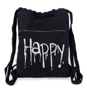 """Happy"" Dripping Text Cinch Backpack"