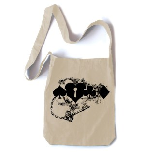 Key to My Heart Card Suit Crossbody Tote Bag