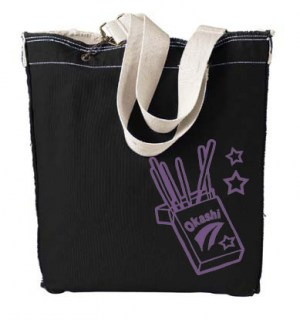 Okashi Pocky Designer Tote Bag (purple/black)