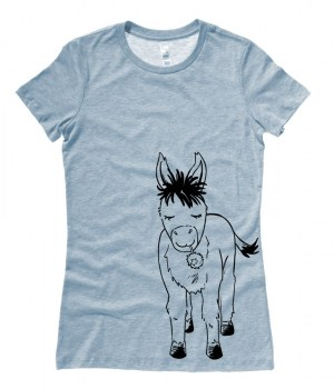 Donkey with Flower Ladies T-shirt