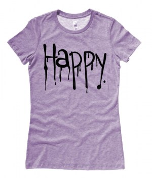 """Happy"" Dripping Text Ladies T-shirt"