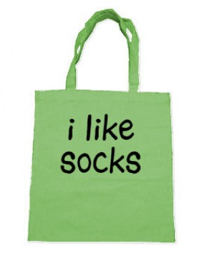 I Like Socks Tote Bag (black/lime green)