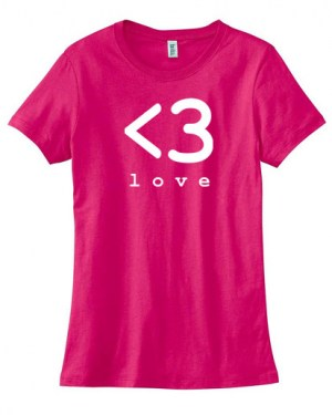 Digital Love Heart Ladies T-shirt