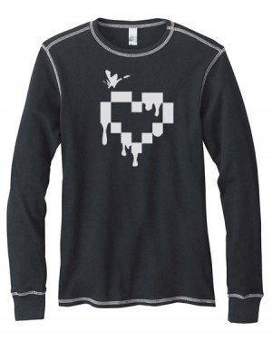 Pixel Heart Mens Long-Sleeve Thermal Shirt