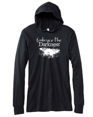 Embrace the Darkness Hooded T-shirt (white/black)