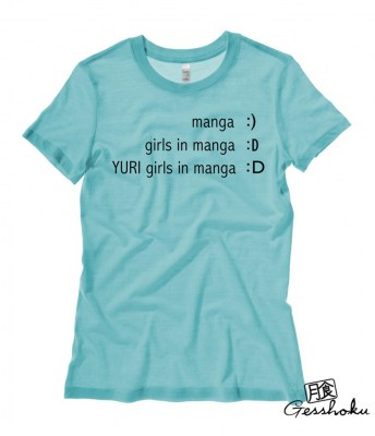 Yuri Manga Emoticon Ladies T-shirt