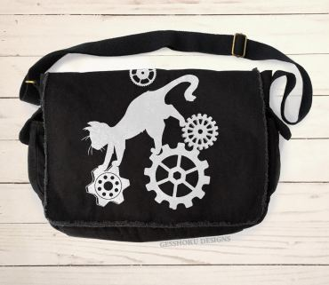 Steampunk Cat Messenger Bag
